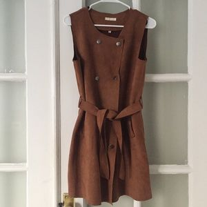 Dresses & Skirts - Cognac suede dress with double sided buttons